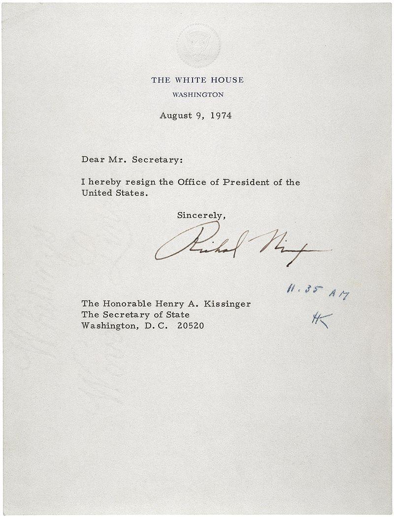 Tímto dopisem Nixon rezignoval na prezidentské křeslo. Nahradil ho viceprezident Ford, který ho okamžitě omilostnil ze všeho, co mu bylo kladeno za vinu.