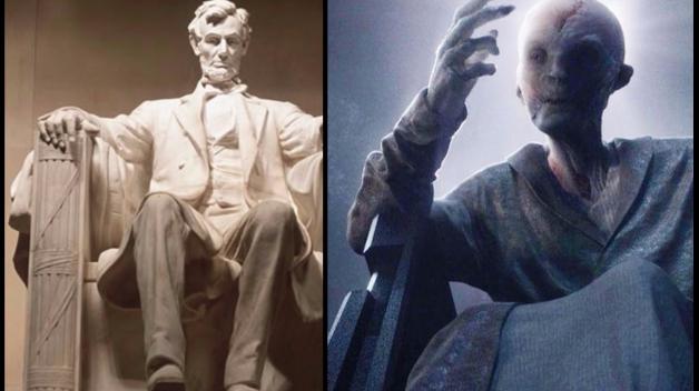 Zobrazení velitele Snokea v Epizodě VII je inspirováno monumentálním pomníkem Abrahama Lincolna.
