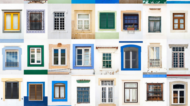 """Portuguese photographer Andre Vicente Goncalves pays tribute to this architectural element, he photographs a variety of colorful exteriors, sills, shutters, and shapes, grouping individual images into large grids at towns of Portugal, Italy and France. """"I"""