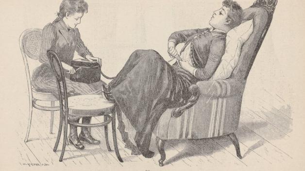 Demonstrativní ukázka použití vibrátoru v roce 1891.