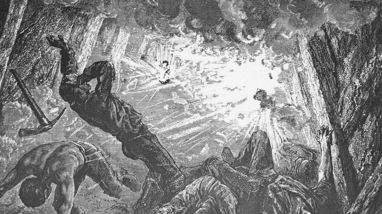 Umělecká představa, jak vypadalo jedno z největších důlních neštěstí historie ve velšském Colleiry 14. října 1913. Většinu z 439 mrtvých horníků nezabila sama exploze, ale otrava oxidem uhelnatým.