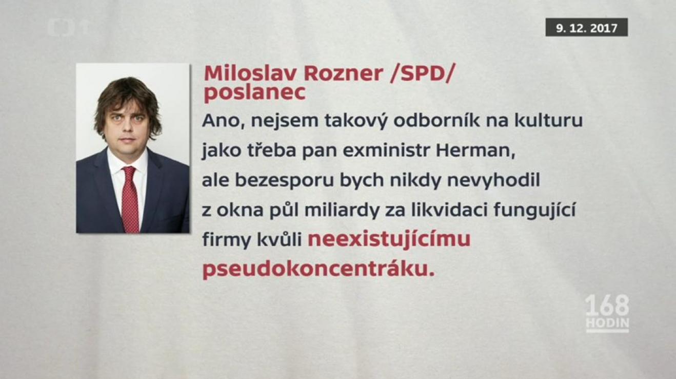 """Miloslav Rozner v prosinci 2017 na sjezdu SPD označil tábor v Letech za """"neexistující pseudokoncentrák""""."""