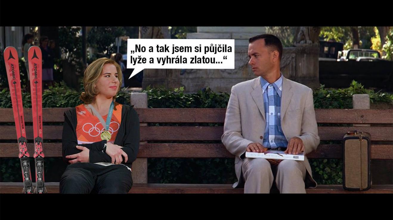 Ester Ledecká s Forrestem Gumpem.