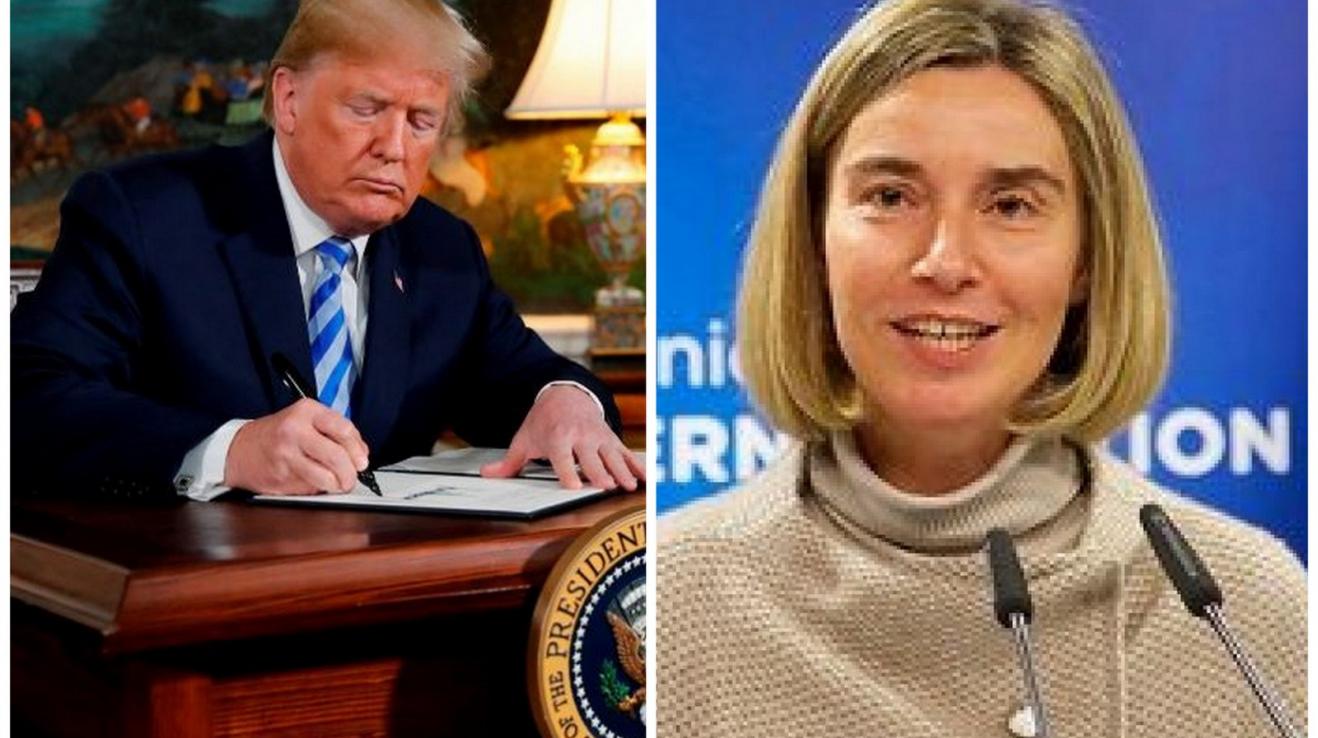 Dvě tvář politiky vůči Íránu. Donald Trump podepisující rozhodnutí o odchodu USA z jaderné dohody. Federica Mogheriniová nabízející pomoc.