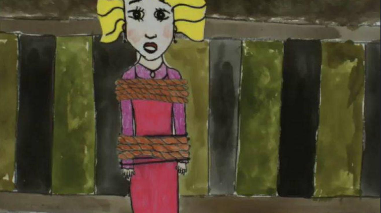 Kreslený klip k písni Leží dáma na kolejích naštval korektní matky.
