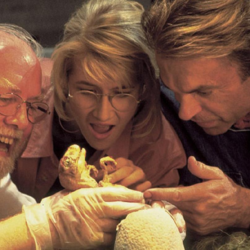 Není náhoda, že Hammond ve filmu nosí bílou a Ian Malcolm černou. Barva jejich oblečení reprezentuje, že o Jurském parku a znovuzrození dinosaurů přemýšlí zcela odlišně.  Zdroj: https://g.cz/node/93801/