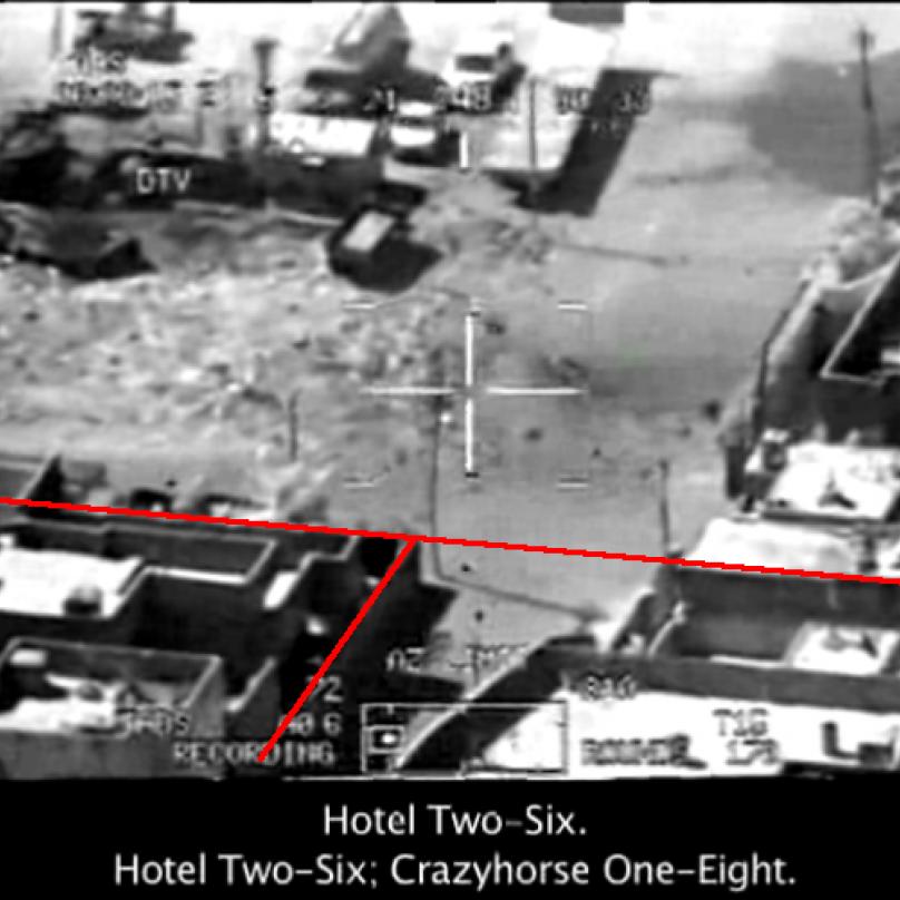 Snímek z amerického útoku v Bagdádu.