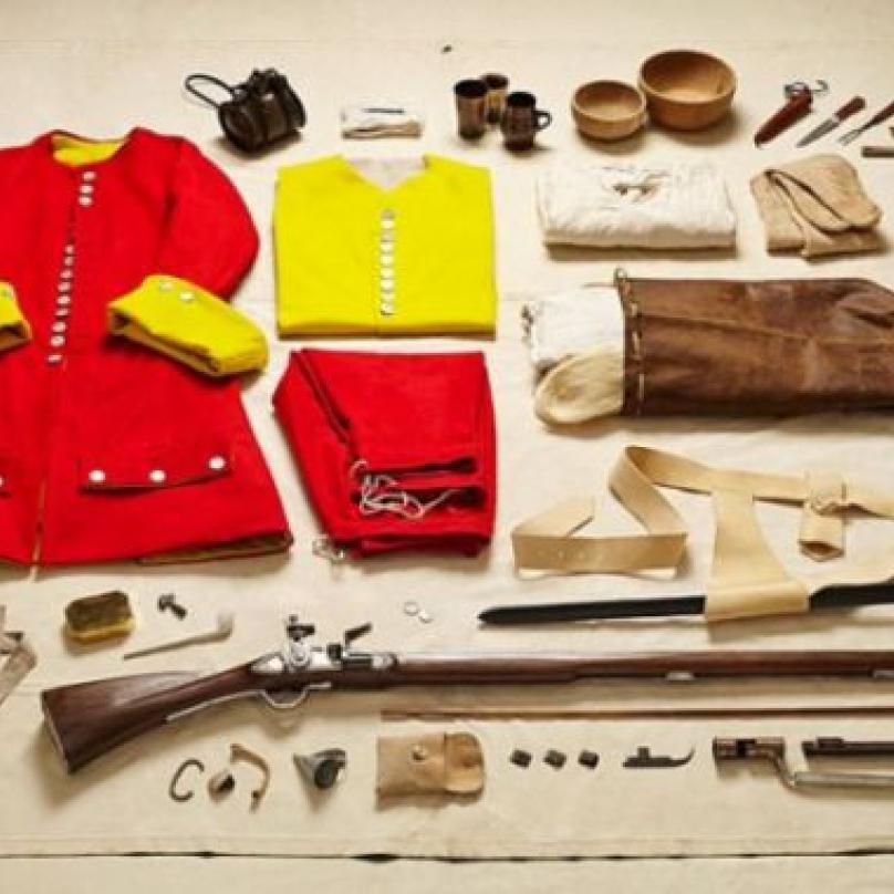 Oblek, zbraně a věci osobní potřeby stráže v bitvě u Malplaquet, 1709