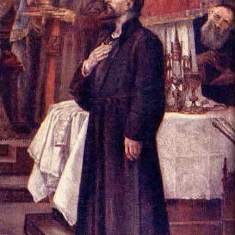 Jan Hus před sněmem v Kostnici.