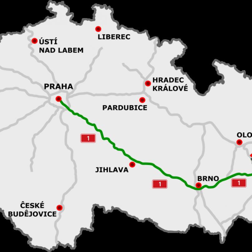 Aktuální mapa dálnice D1