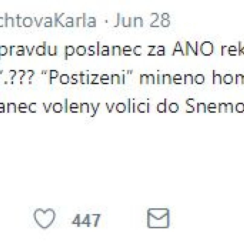 Twitterové vyjádření Karly Šlechtové.