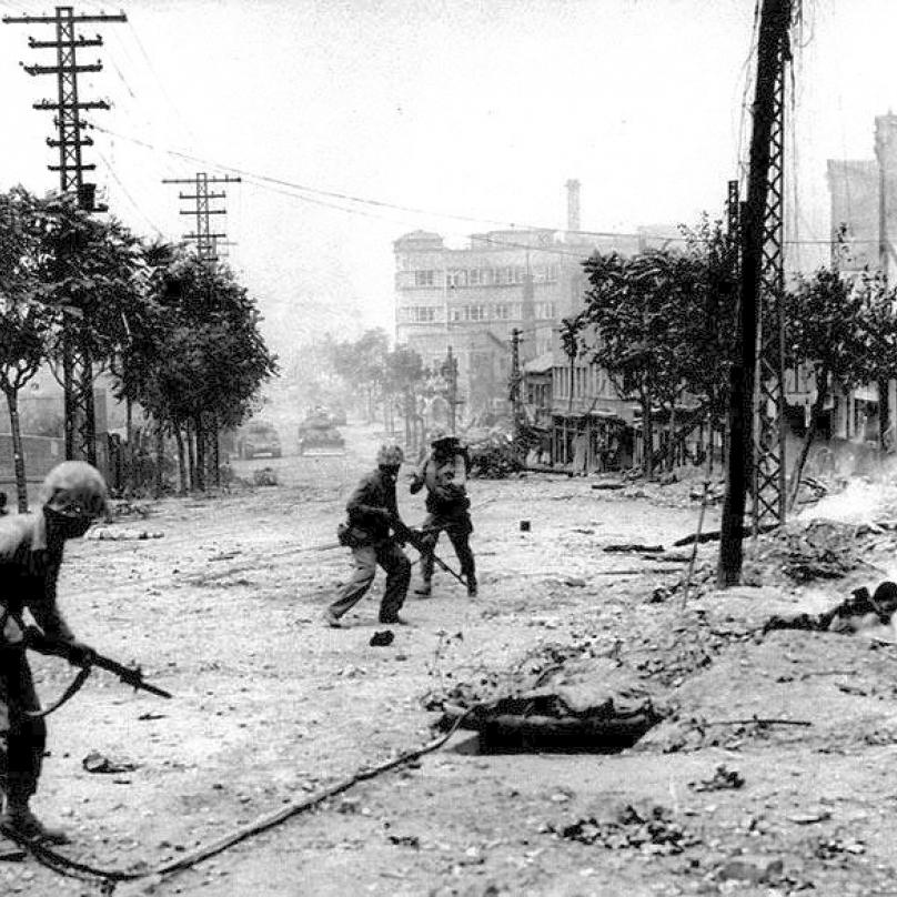 Pouliční boje v Soulu.