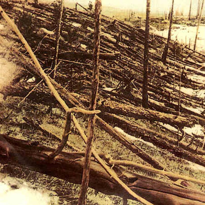 Fotografie z roku 1927 zachycuje zkázu lesa způsobenou výbuchem.