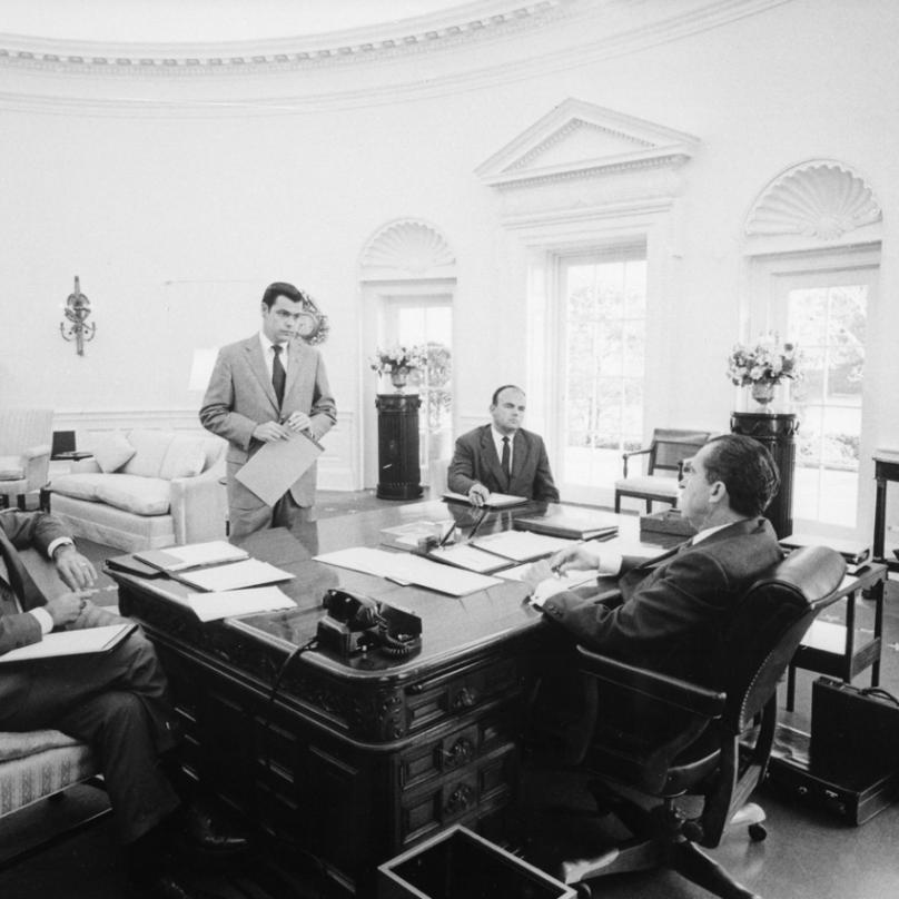 H. R. Haldeman, D. Chapin, J. D. Ehrlichman a R. Nixon - tato čtveřice byla hlavními aktéry Watergateského spiknutí.