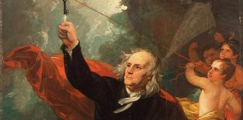Vyobrazení Benjamina Franklina lapajícího blesky