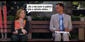 Ester Ledecká s Forrestem Gumpem