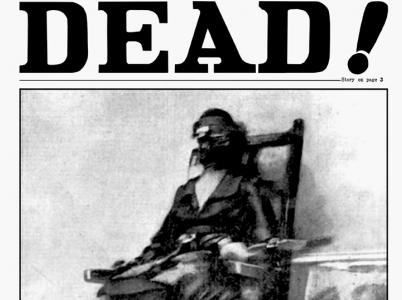 SMRT RUTH SNYDEROVÉ VYFOCENA! – Tohle je snad nejpozoruhodnější exkluzivní snímek v historii kriminologie. Ukazuje skutečnou scénu z popravčí komory v Sing Singu v 11:06 včera večer, kdy tělem Ruth Snyderové projel smrtící proud...
