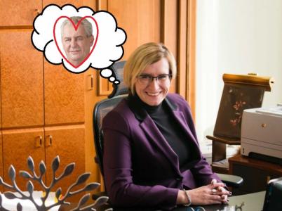 Karla Šlechtová je příkladnou členkou vlády. Má ráda jak svého premiéra, tak svého prezidenta. V druhém z nich dokonce vidí to, co ostatní nikoliv.
