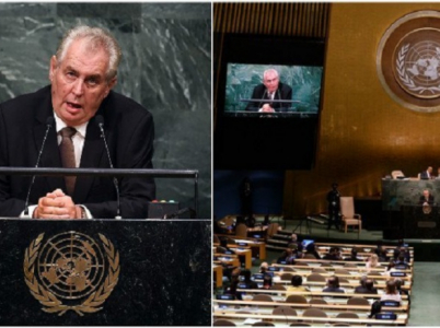 Milož Zeman na zasedání OSN v roce 2015.