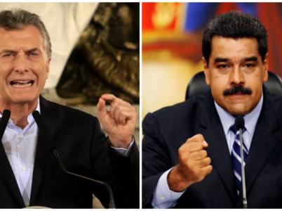 Argentinský prezident Mauricio Macri a jeho venezuelský protějšek Nicolás Maduro