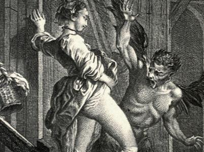 Rytina z 18. století od Charlese Eisena - ilustrace Bajek od Jeana de La Fontaine - jasně naznačuje, jakou má vagina moc.