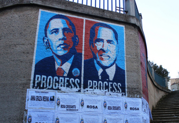 Pryč s BerlusconimZatímco Obama je pro Sardy symbolem pokroku, Silvio je arcisatan. Pro chlípného italského expremiéra mají jen slova pohrdání. Ostudný soudní proces Bonga Bonga a korupční skandály. Prvotní hřích však spáchal už svým narozením: je to Ital