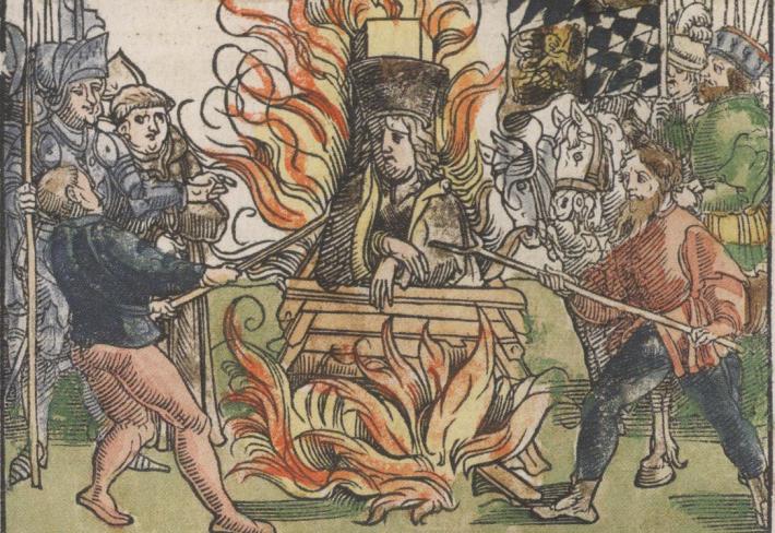 Vyobrazení upálení Jana Husa v Kostnici.