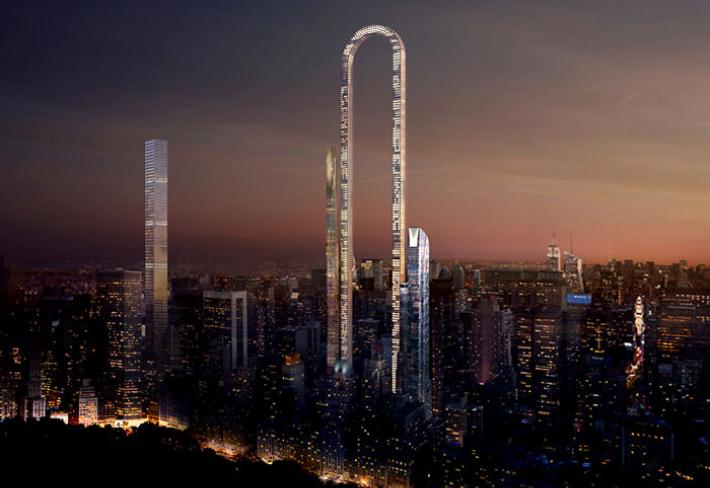 Vizualizace nočního New Yorku s novou dominantou.