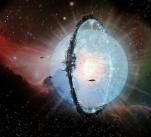 Umělecká představa neúplné Dysonovy sféry vybudované kolem hvězdy