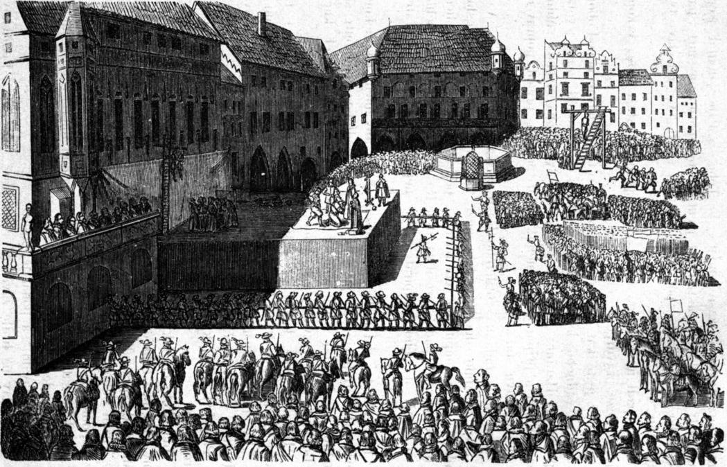 Kresba vyobrazující popravu sedmadvaceti českých pánů