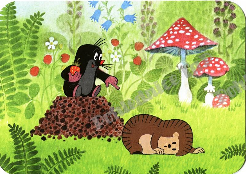 Černý krteček posedává u vykopané díry a láduje se. Hnědý ježek dokonce leží a nemaká vůbec.