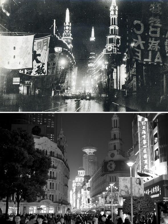 5. Hlavní nákupní třída Nanjing Lu v Šanghaji v roce 1940 a 2016