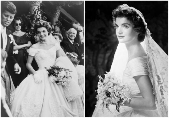 Budoucí první dáma Spojených států amerických ten den vypadala naprosto  dokonale. Na sobě měla svatební šaty decentně spadlé z ramen. 8ea67c20a1