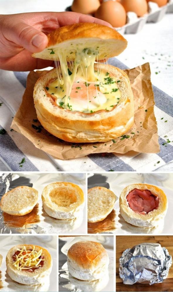 2. Sýrovo - slanino - vaječný sendvič