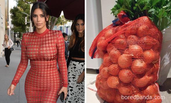 2# Že by se Kim Kardashian inspirovala na svou róbu u pytle s cibulí?